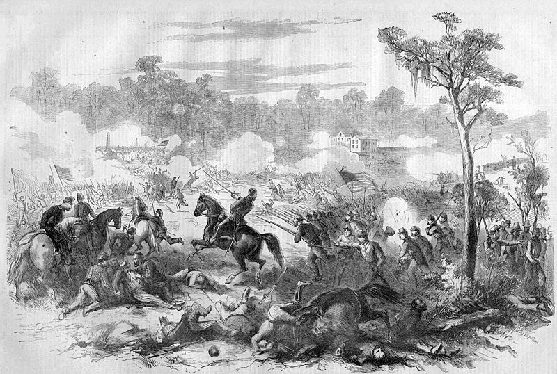 A line engraving of the battle published in Harper's Weekly, 1862