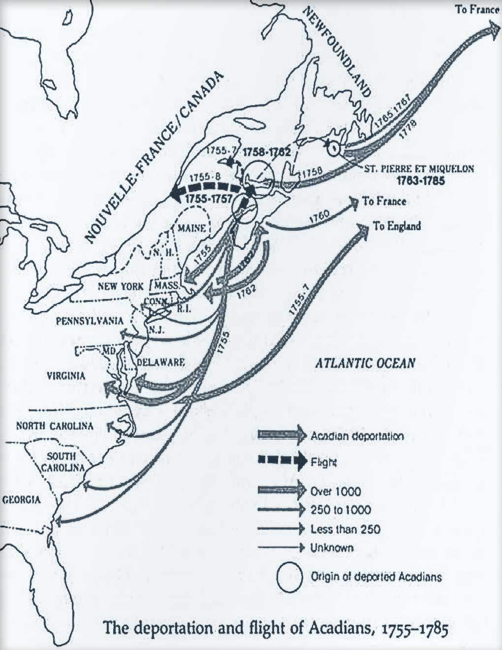 Acadian Deportation Transit Map
